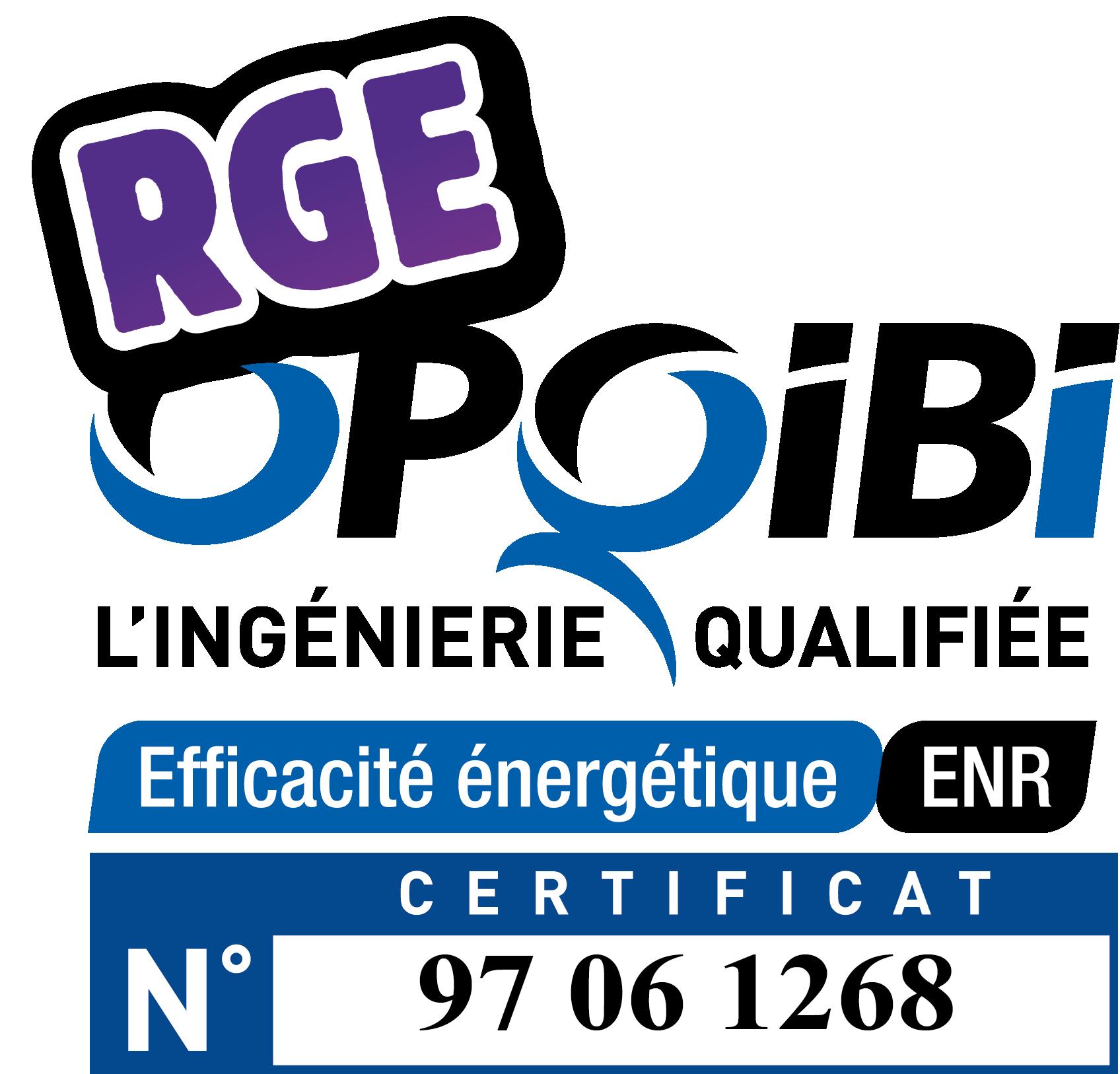 Numéro certification OPQIBI avec RGE